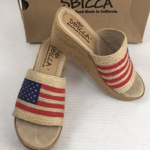 Sbicca USA American Flag wedge Slip On sandals 7